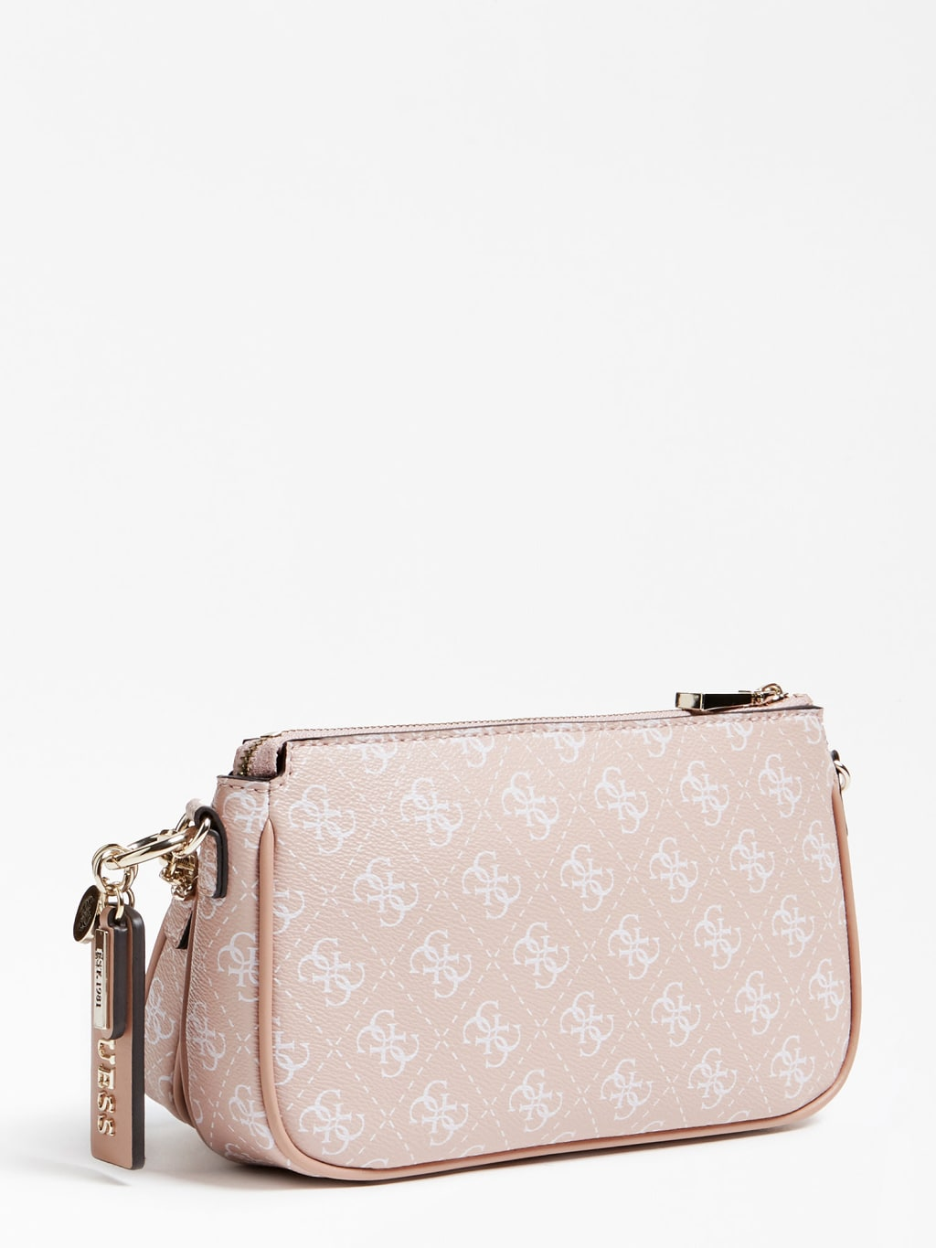 Guess pudrová crossbody kabelka Arie Crossbody 4G Logo All Over