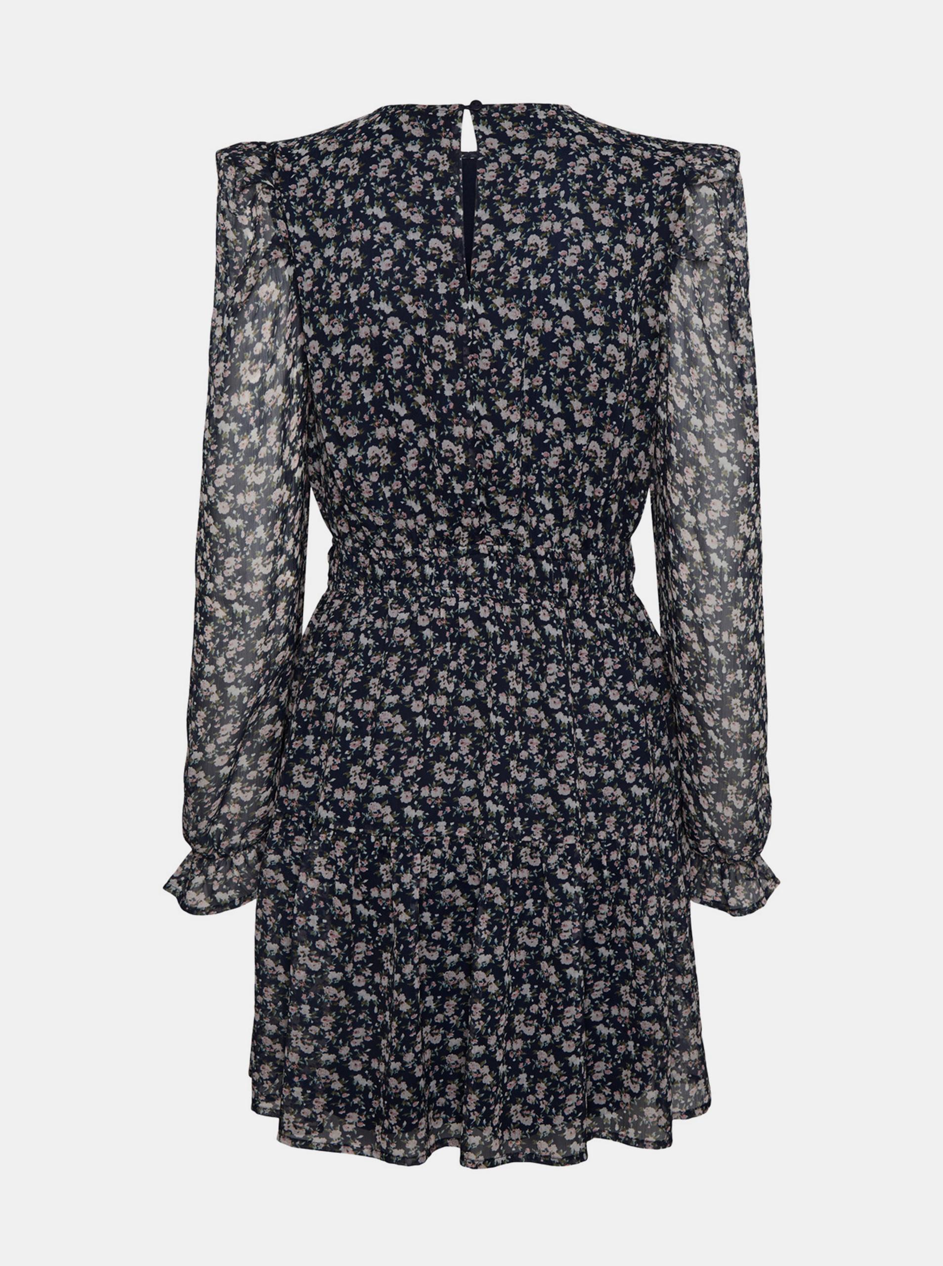 Modré květované šaty VERO MODA Hibiscus