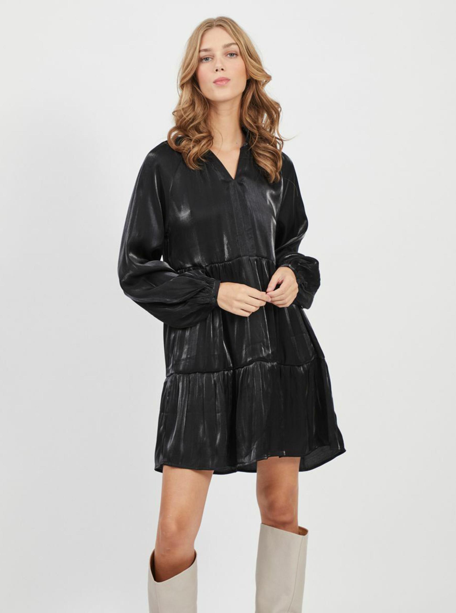 Černé volné lesklé šaty VILA - XXL