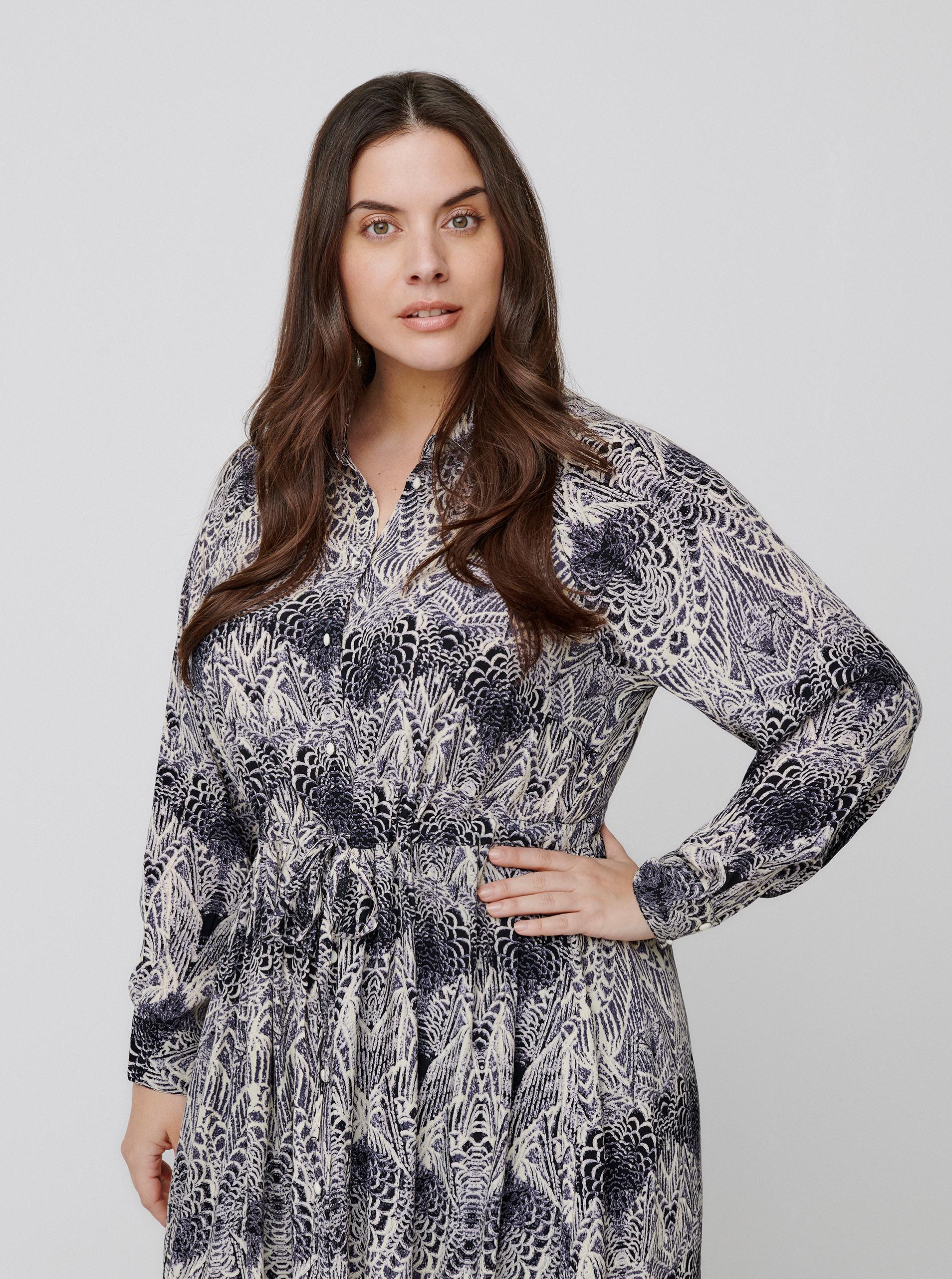 Zizzi šedé maxi košilové šaty se vzory