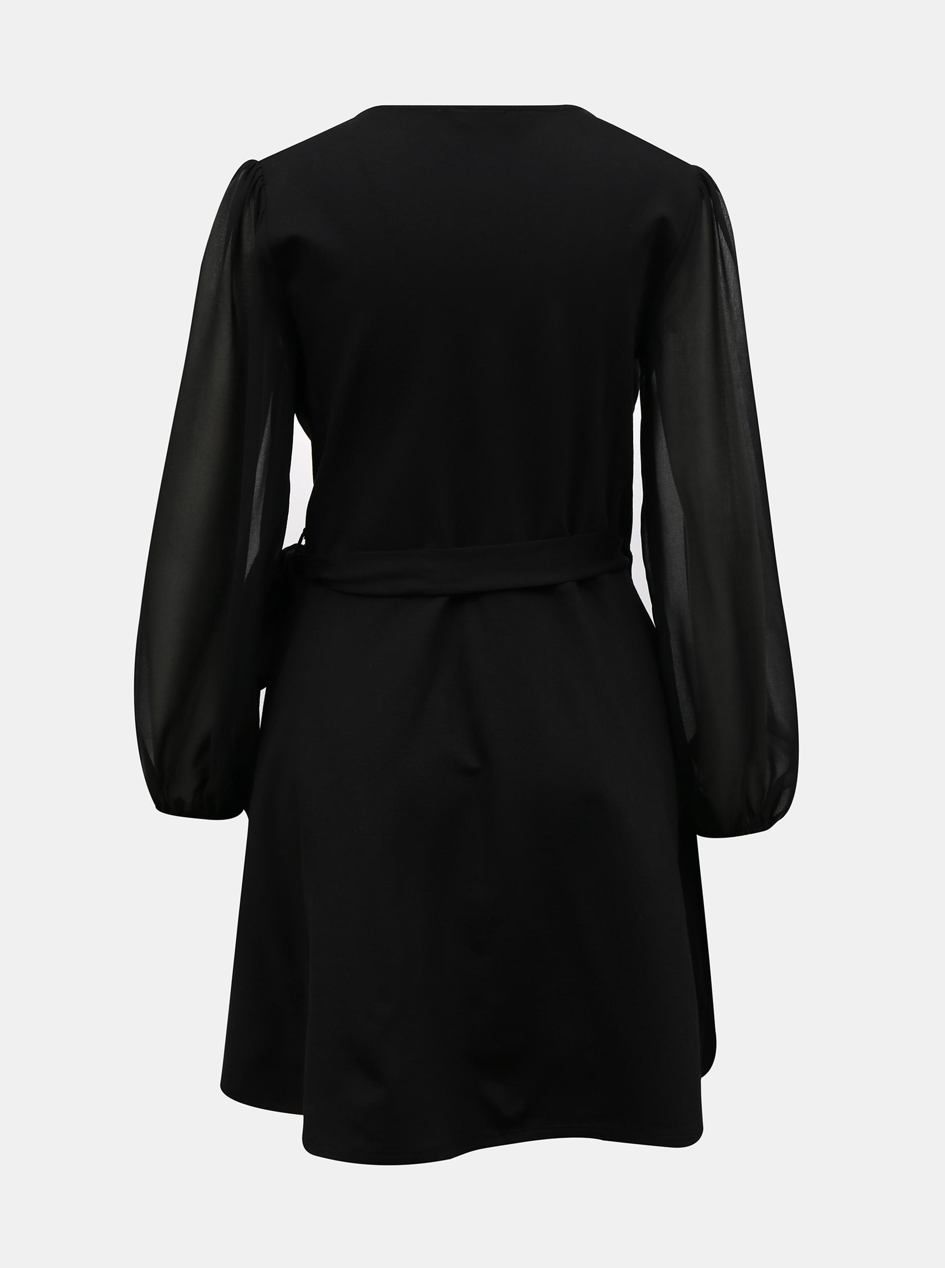 Tally Weijl černé áčkové šaty s transparentními rukávy