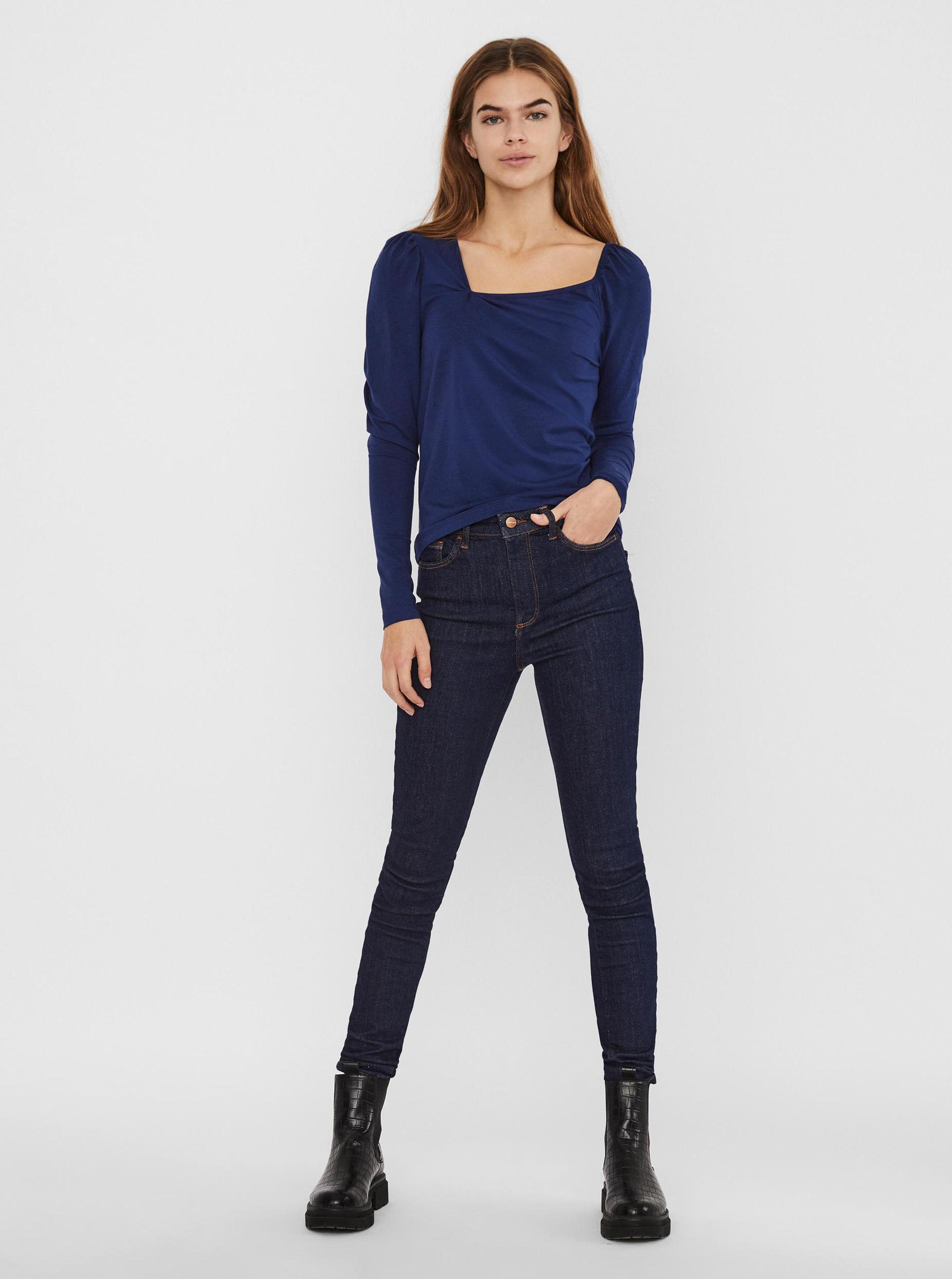 Vero Moda modré tričko s asymetrickým výstřihem