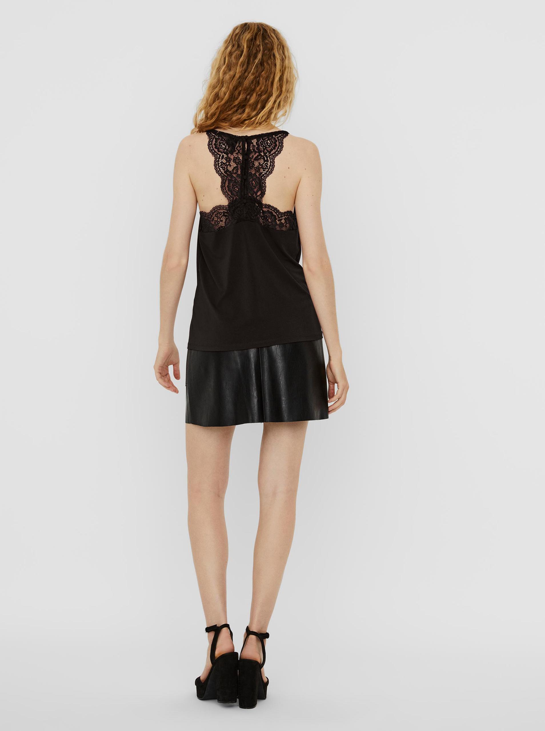Vero Moda černý top s krajkou Ana