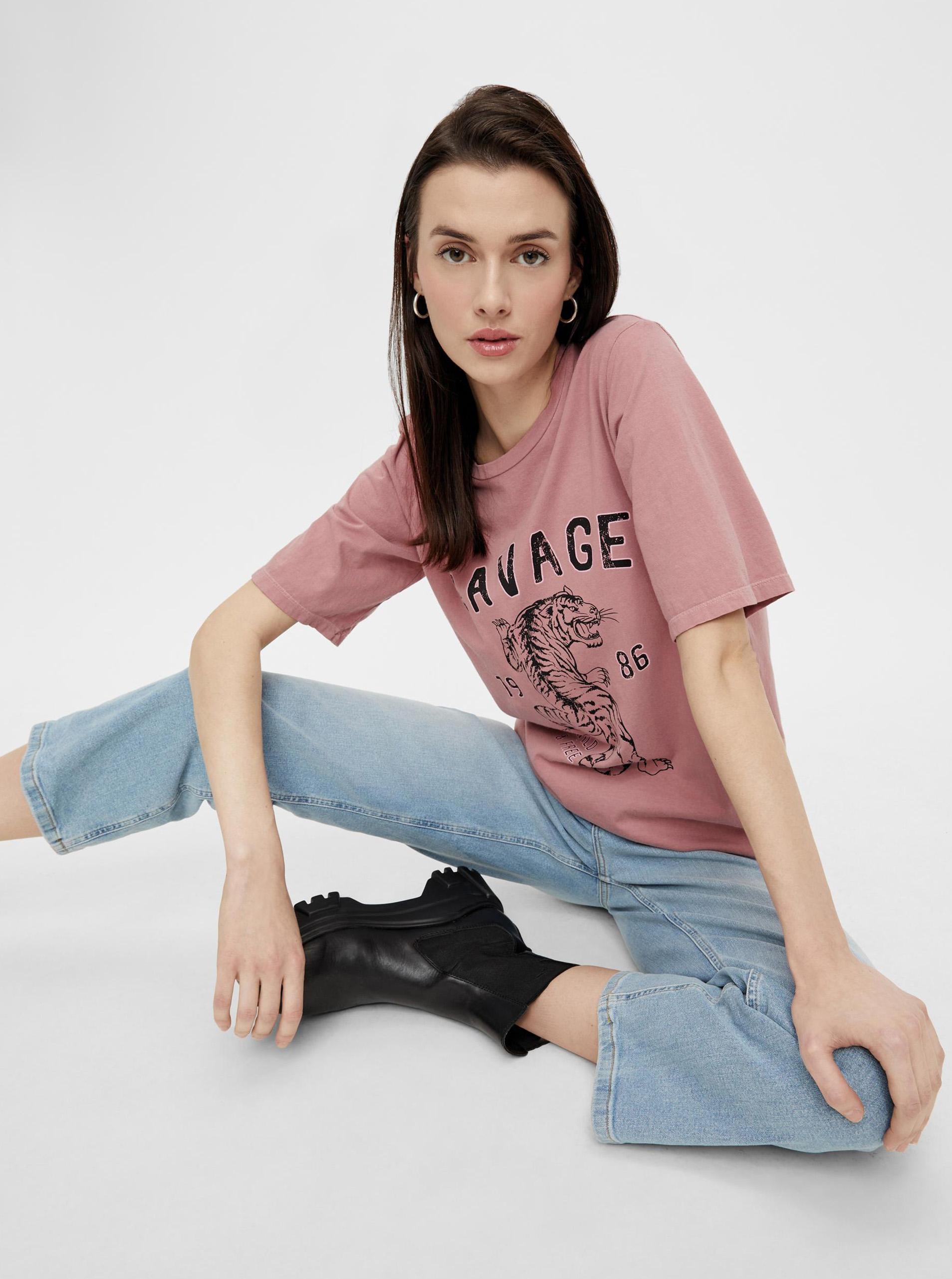 Pieces růžové dámské tričko s potiskem