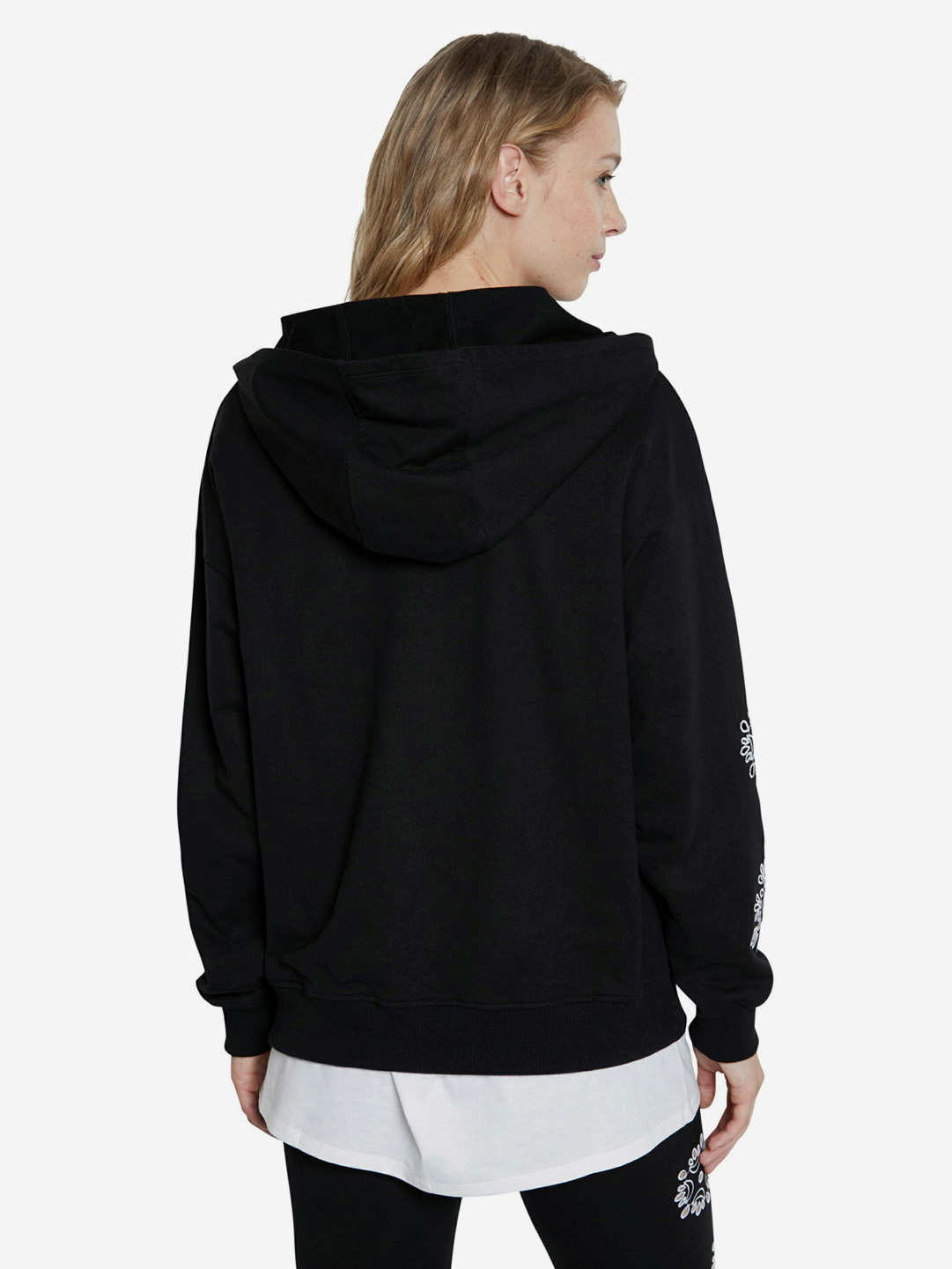Desigual černá dámská mikina Hoodie No Zip Swiss Emboidery