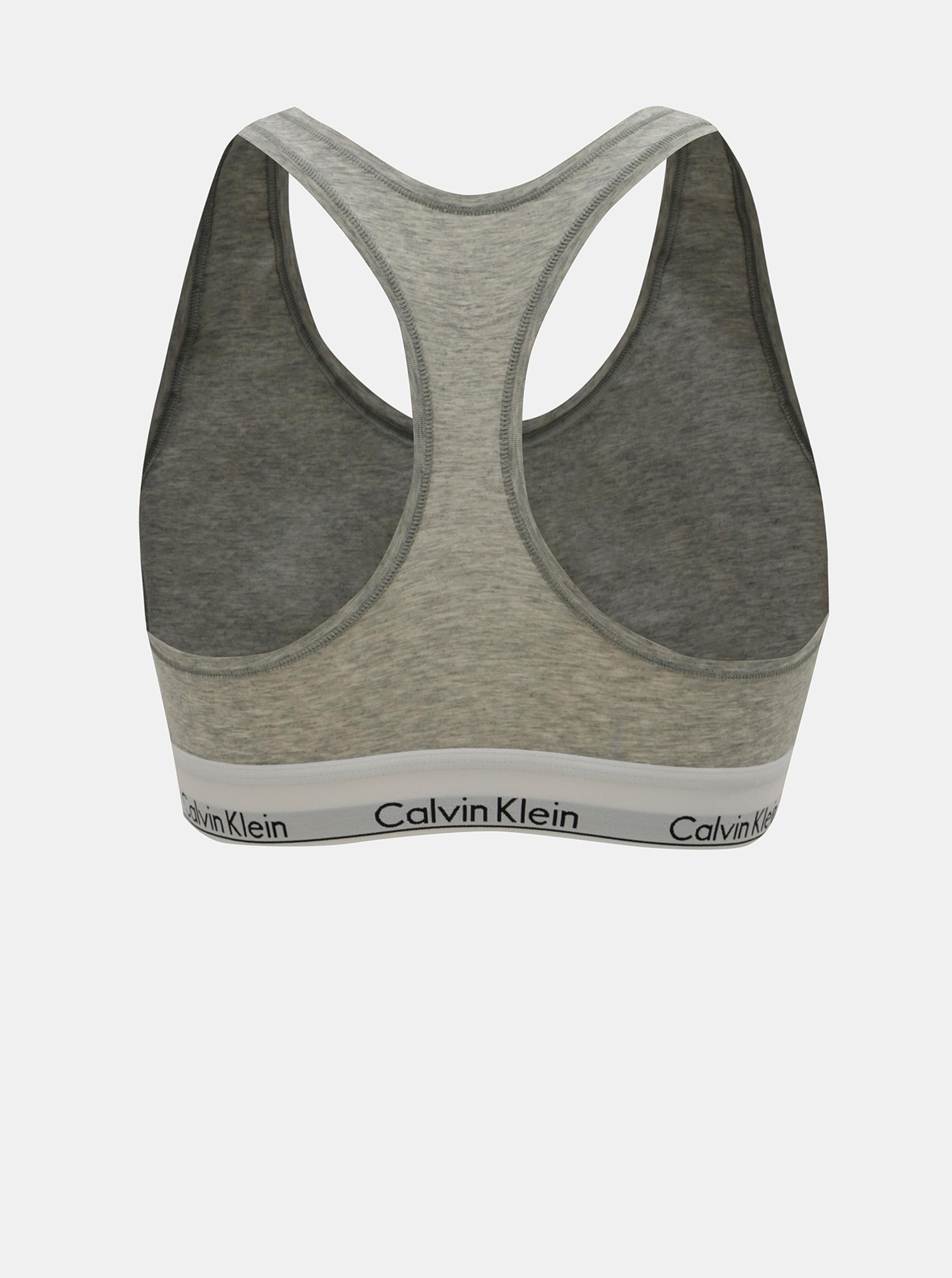 Calvin Klein šedá sportovní podprsenka Bralette Basic