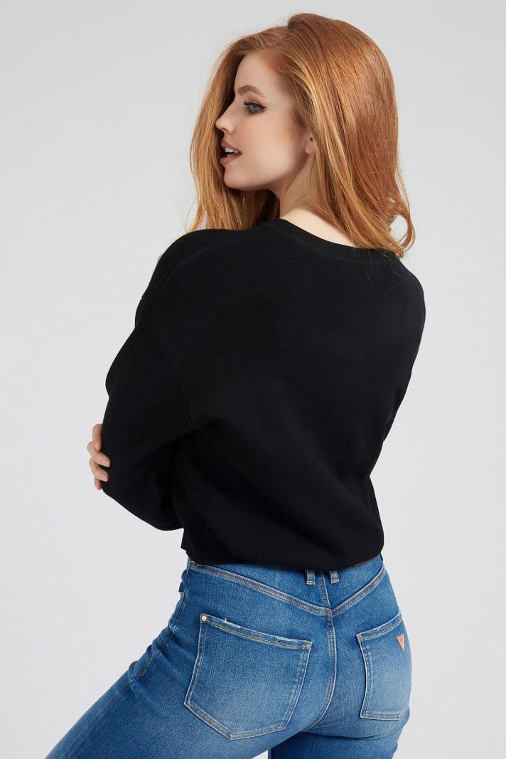 Guess černé svetr Front Logo Comfort Fit