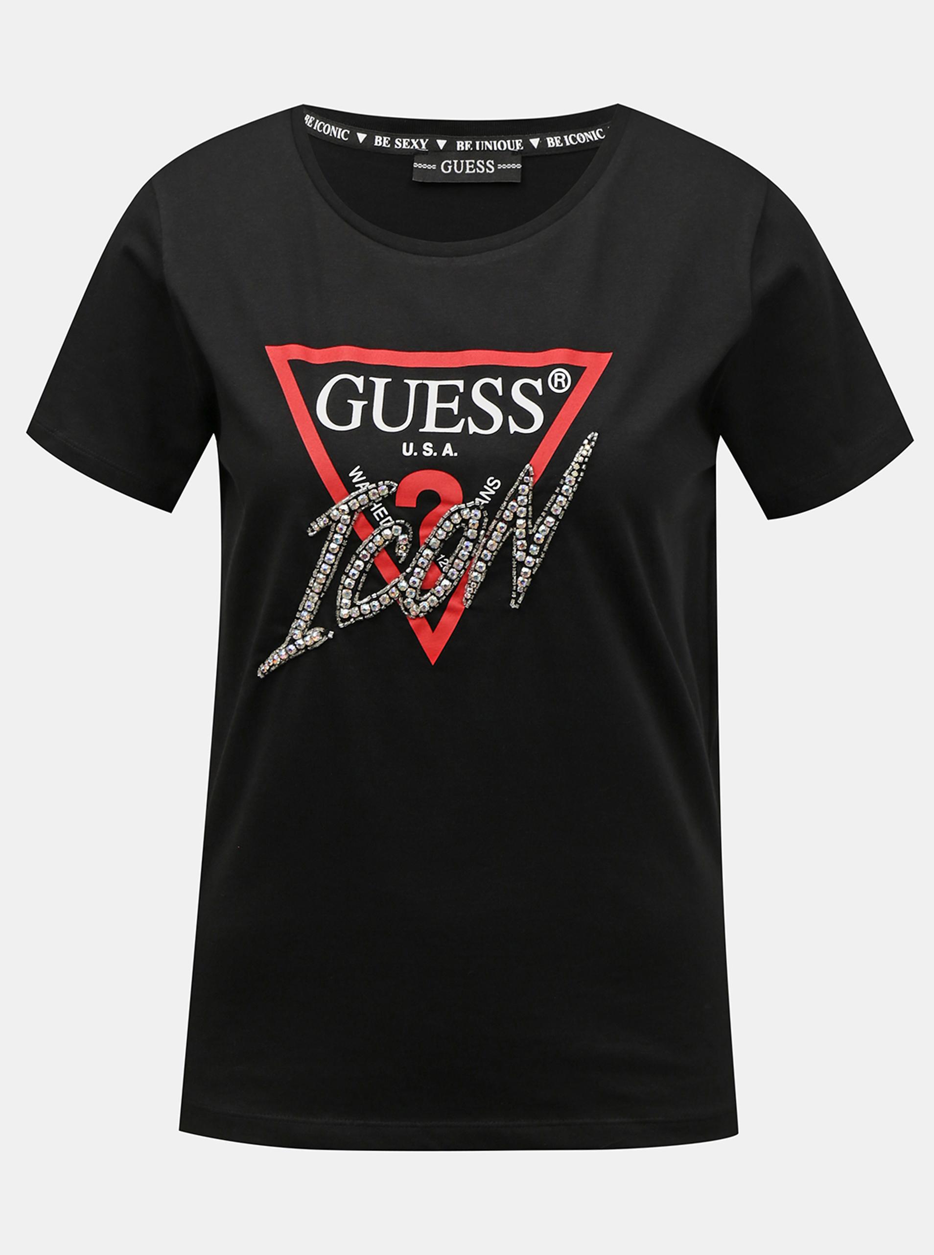Guess černé tričko Icon Logo T-shirt