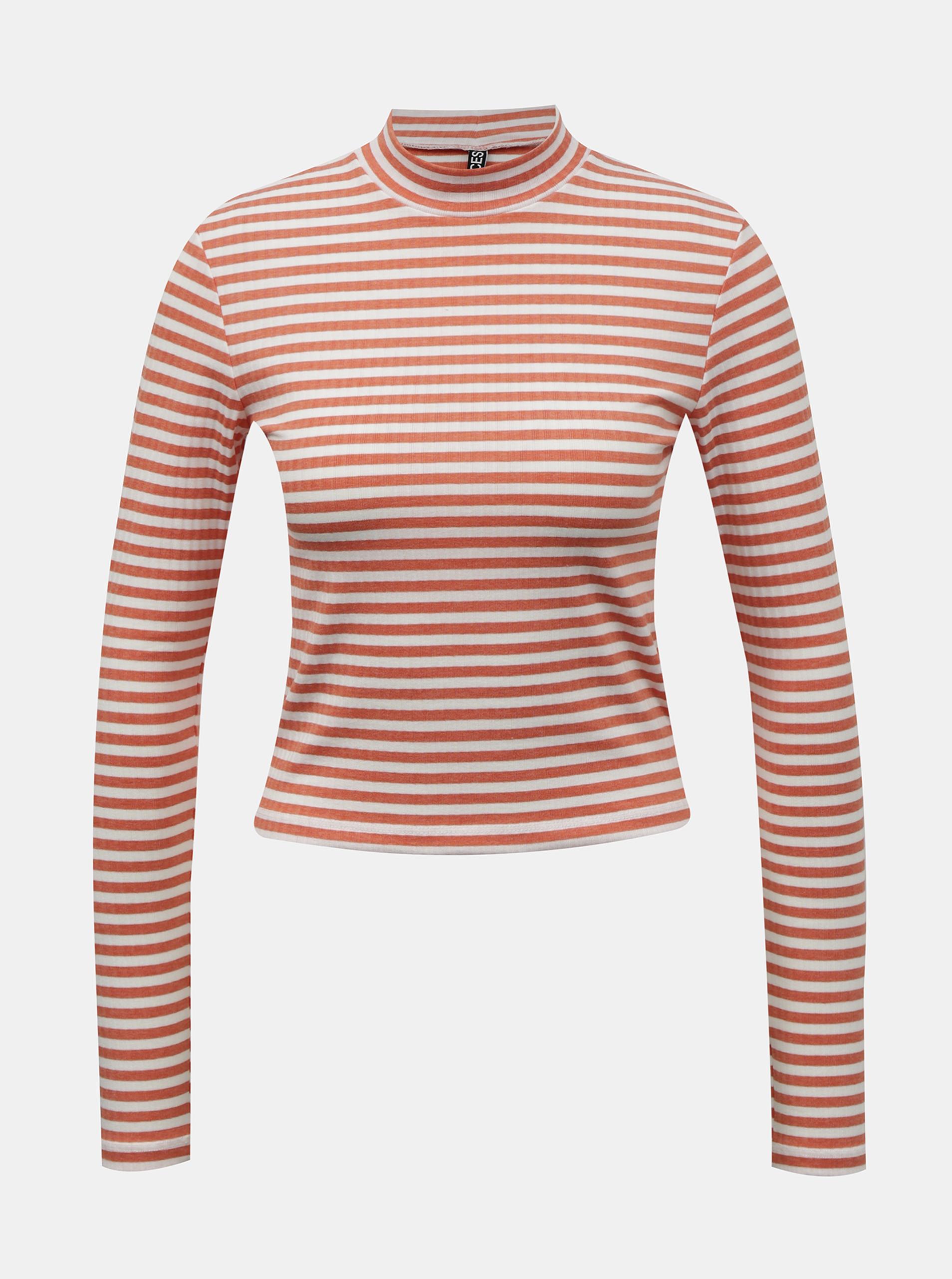 Pieces bílo-oranžové dámské tričko Raya