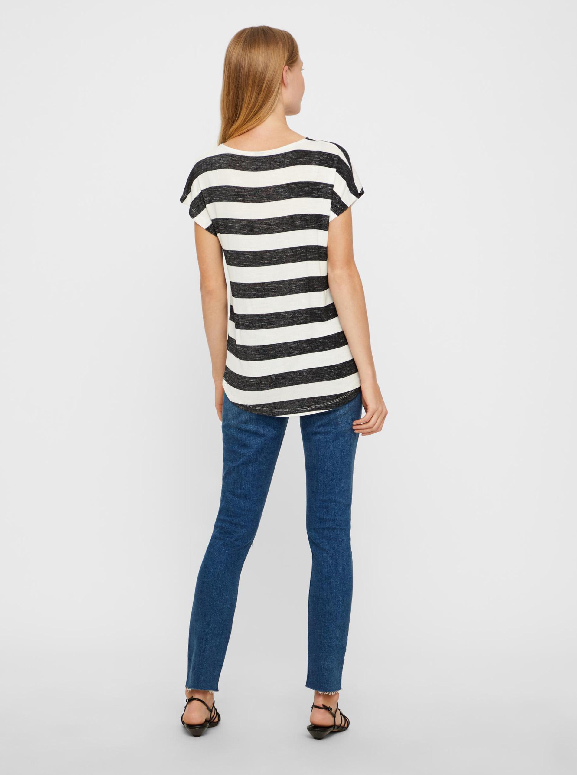 Vero Moda bílo-černé pruhované tričko Wide Stripe