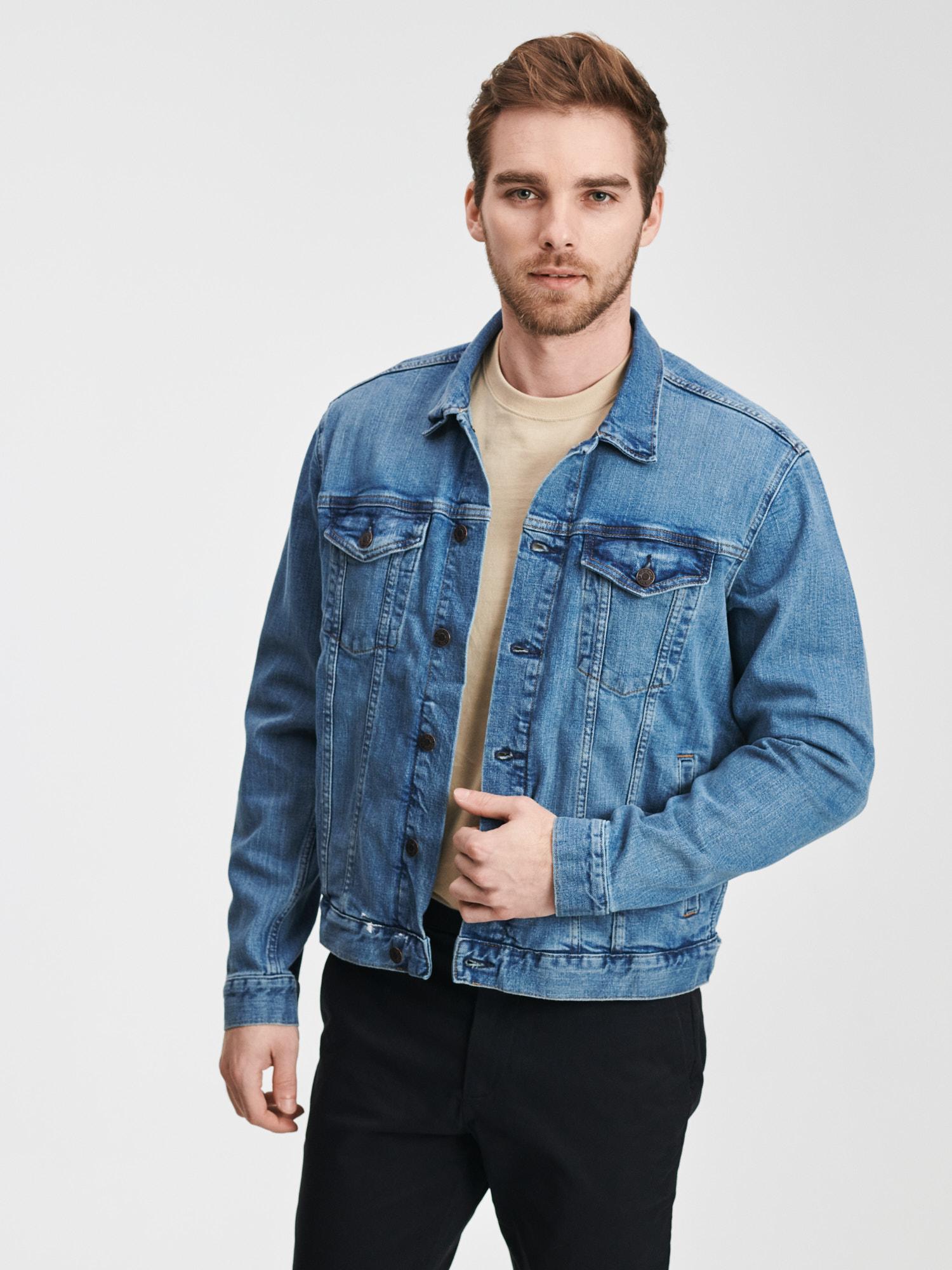 GAP modré džínová pánská bunda Flex Denim Icon - L