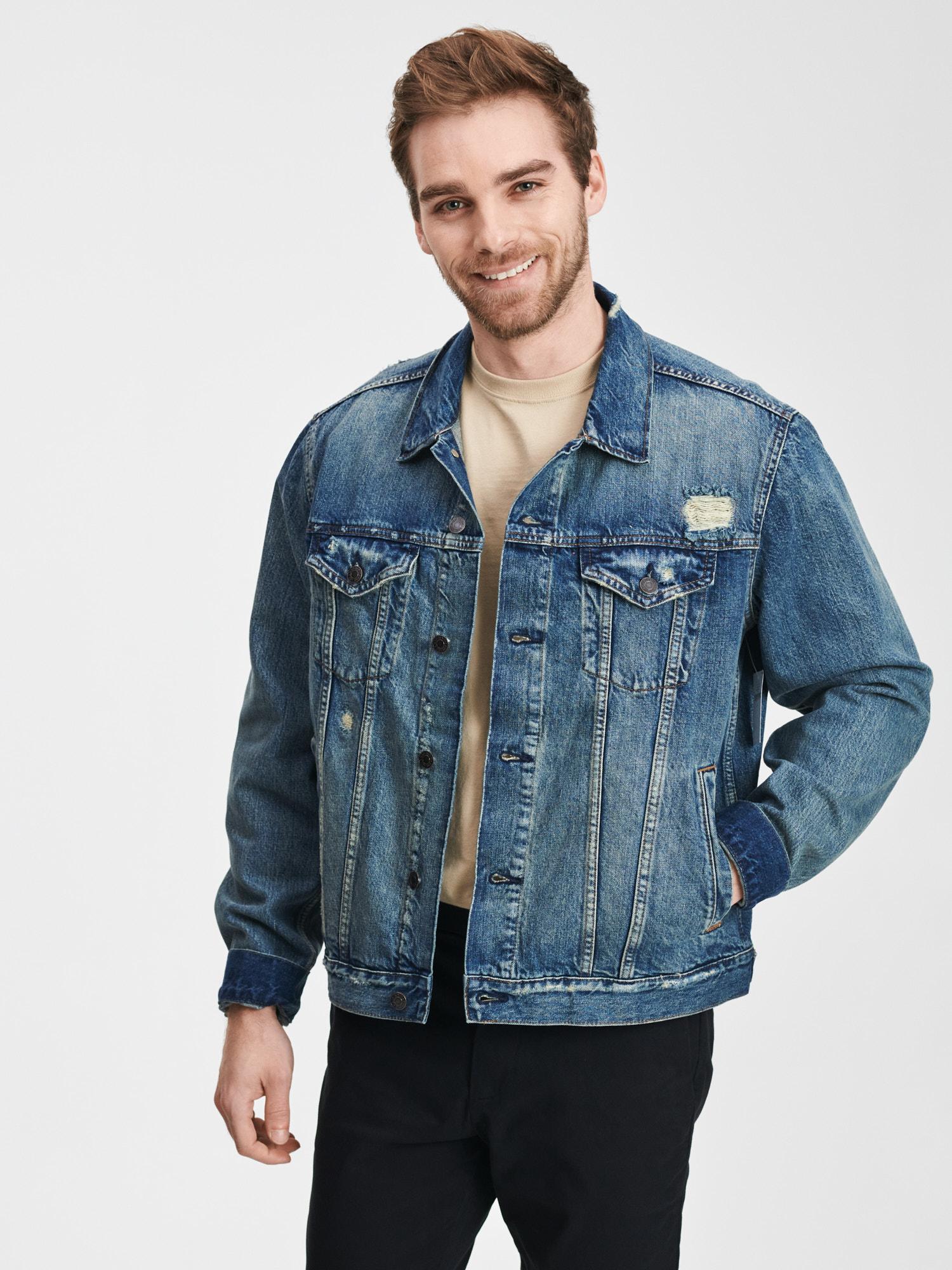 GAP modré džínová pánská bunda Destroy Denim Icon - XXL