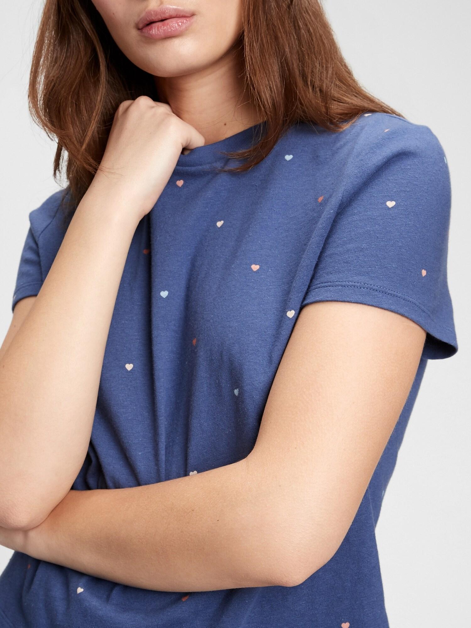 GAP modré dámské tričko ss shrunken te