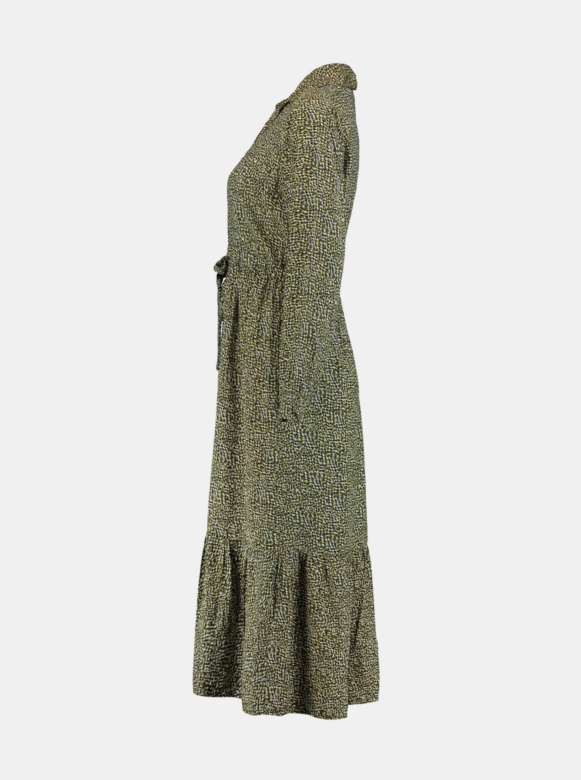 Hailys khaki košilové vzorované šaty