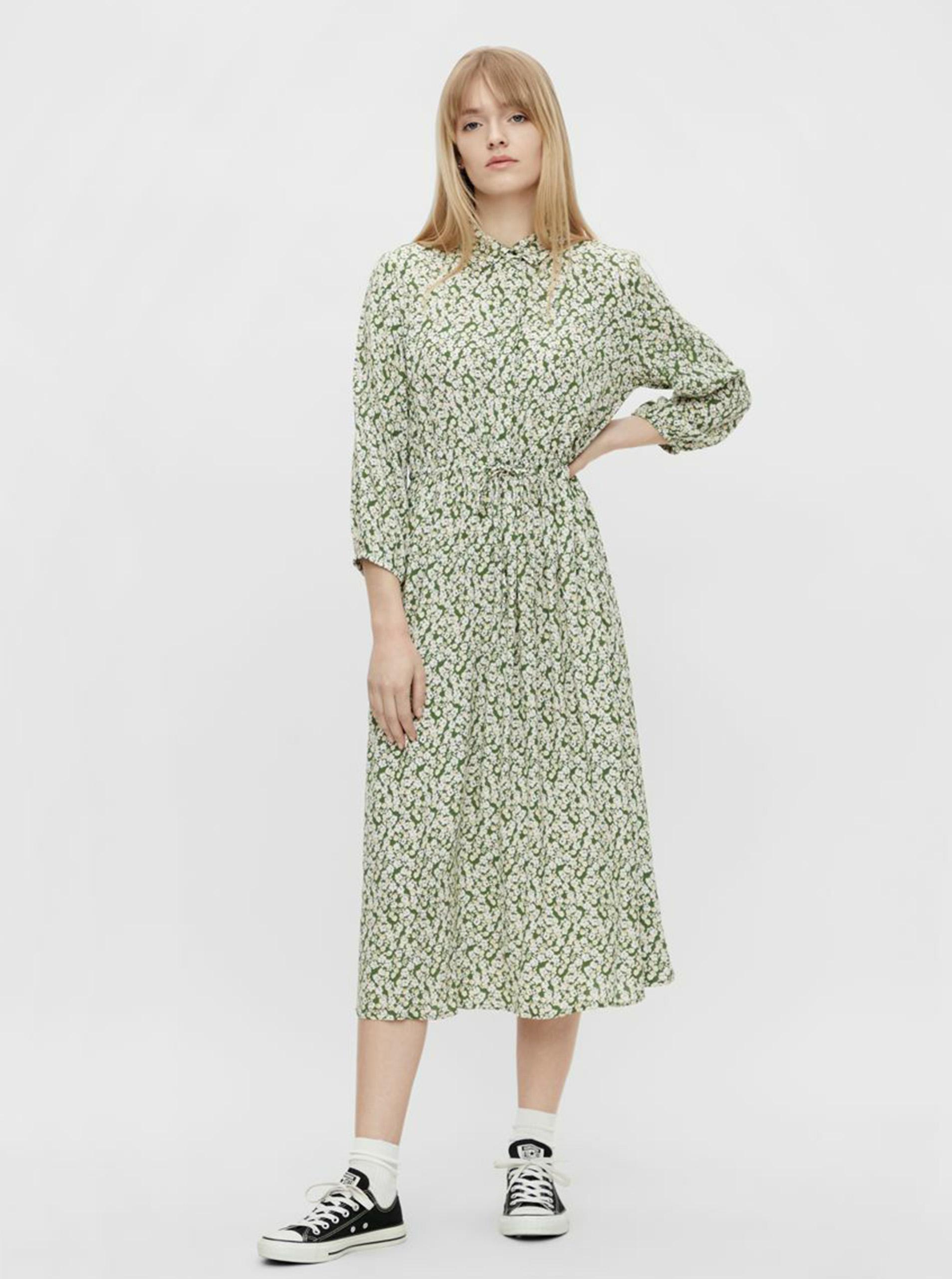 Pieces zelené maxi květované košilové šaty
