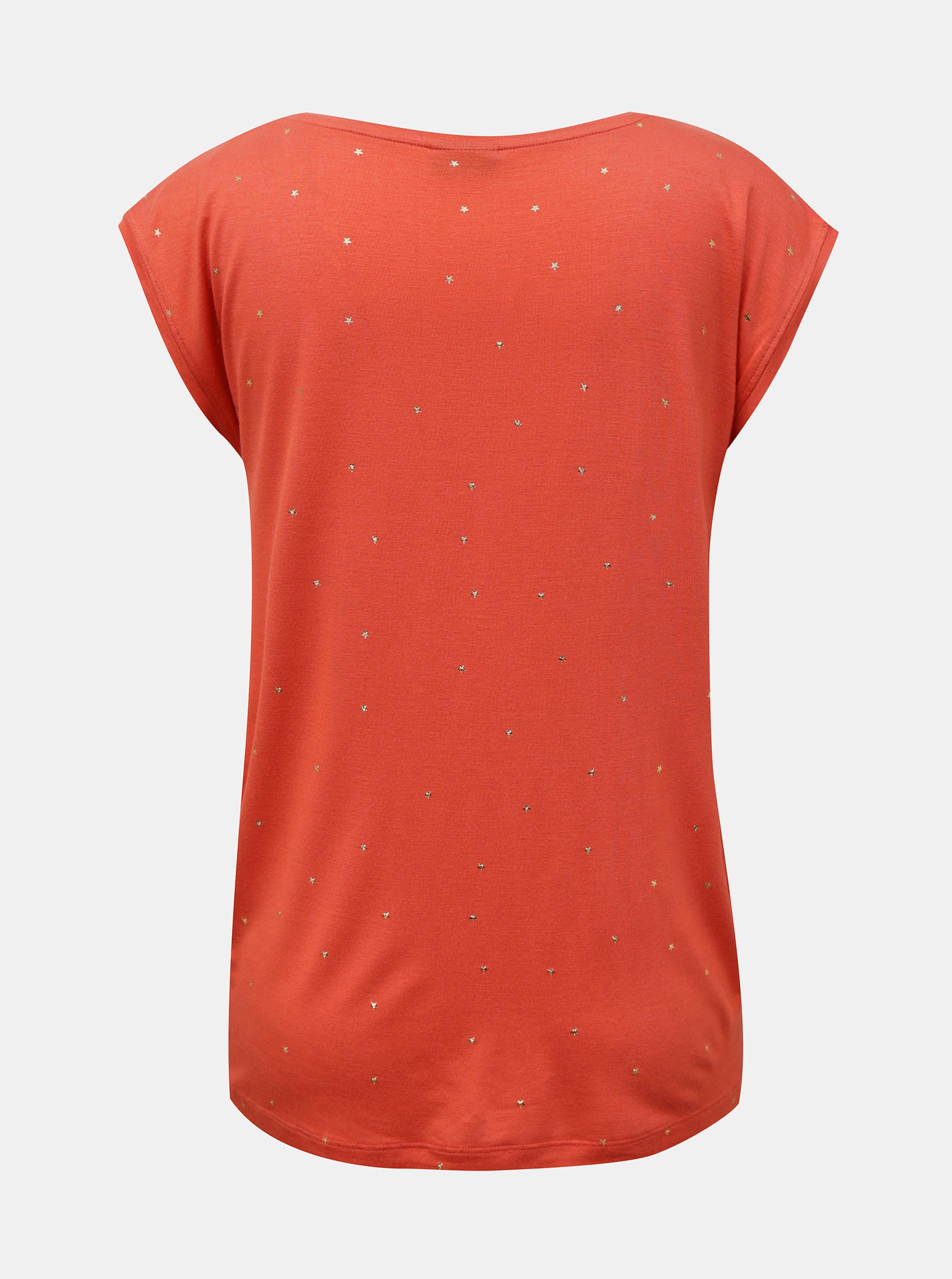 Pieces korálové tričko Milly se vzorem
