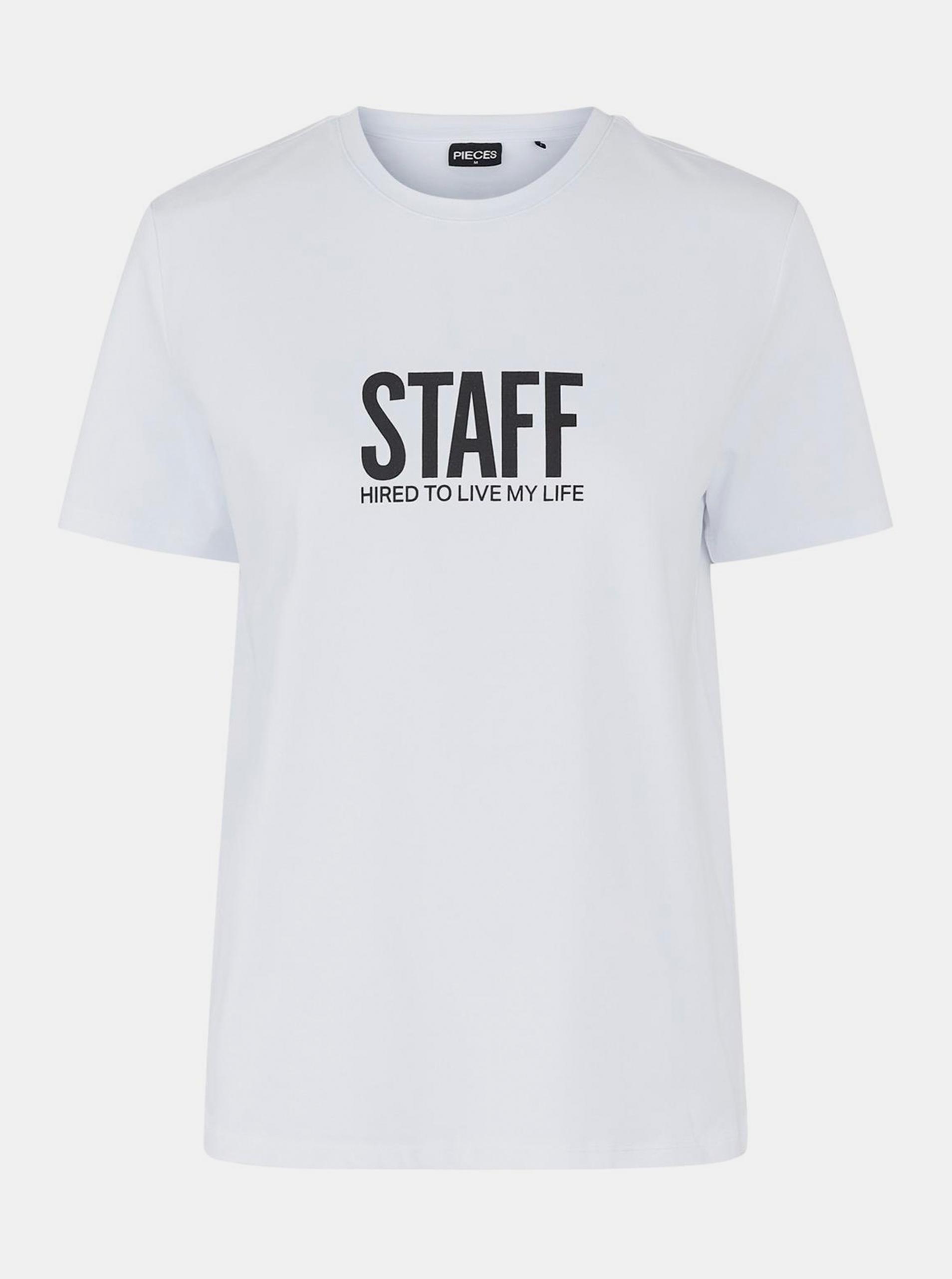 Pieces bílé dámské tričko s potiskem