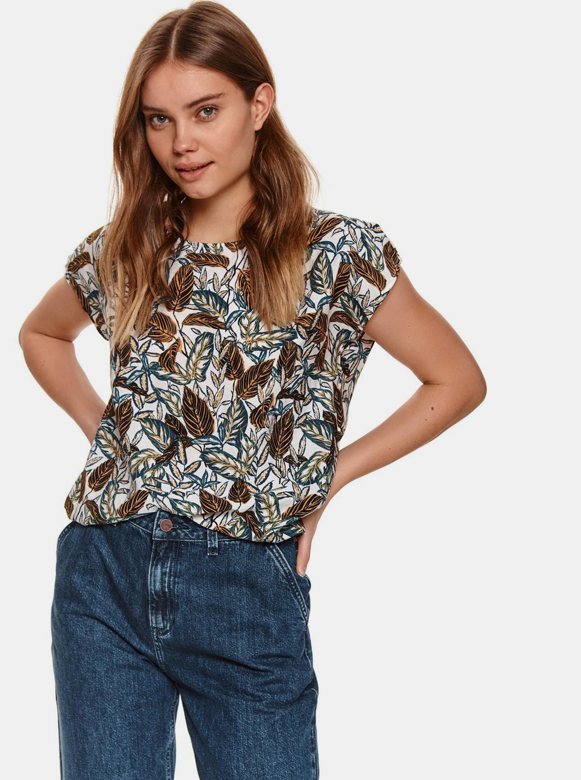 TOP SECRET hnědo-bílé dámské tričko se vzorem