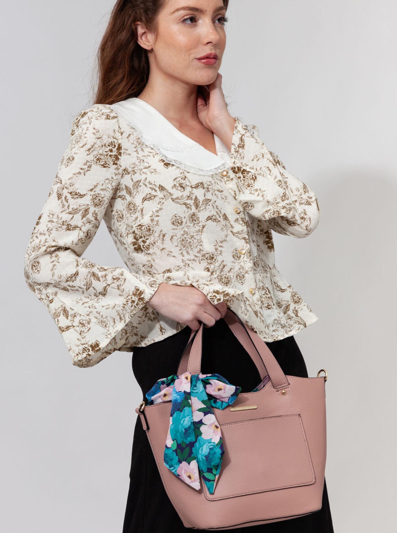 Bessie London růžová 3v1 kabelka s pouzdrem a ozdobným šátkem