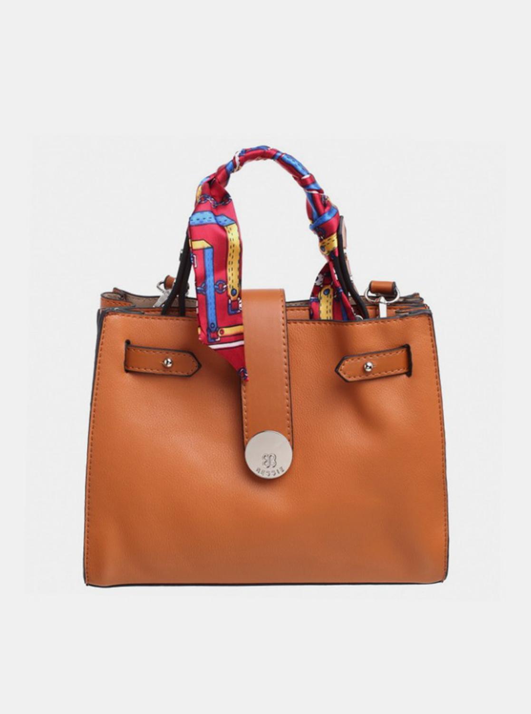 Bessie London hnědá kabelka s ozdobným šátkem