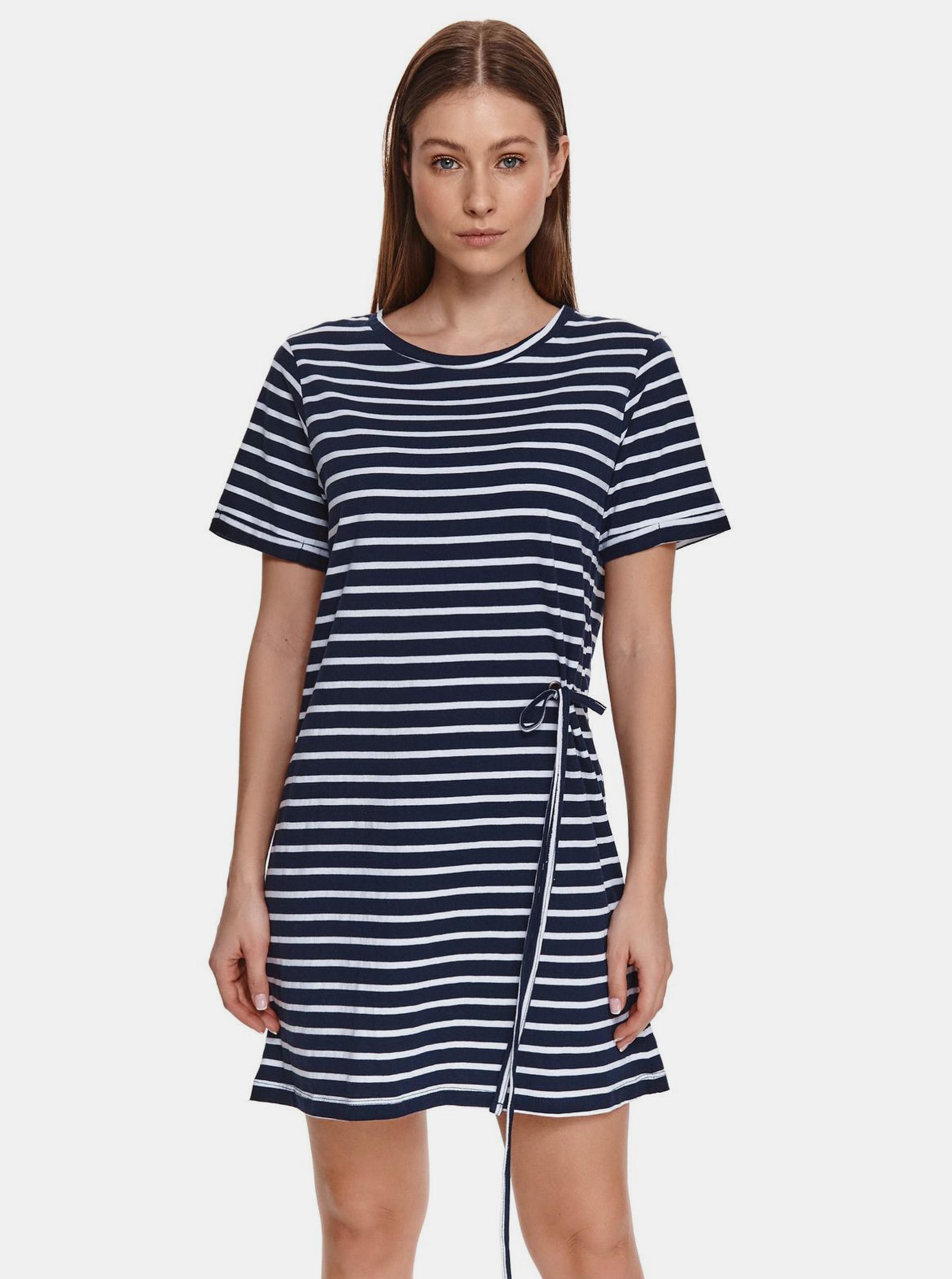 TOP SECRET tmavě modré pruhované šaty