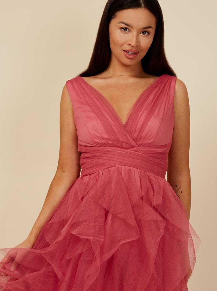 Little Mistress růžové společenské šaty