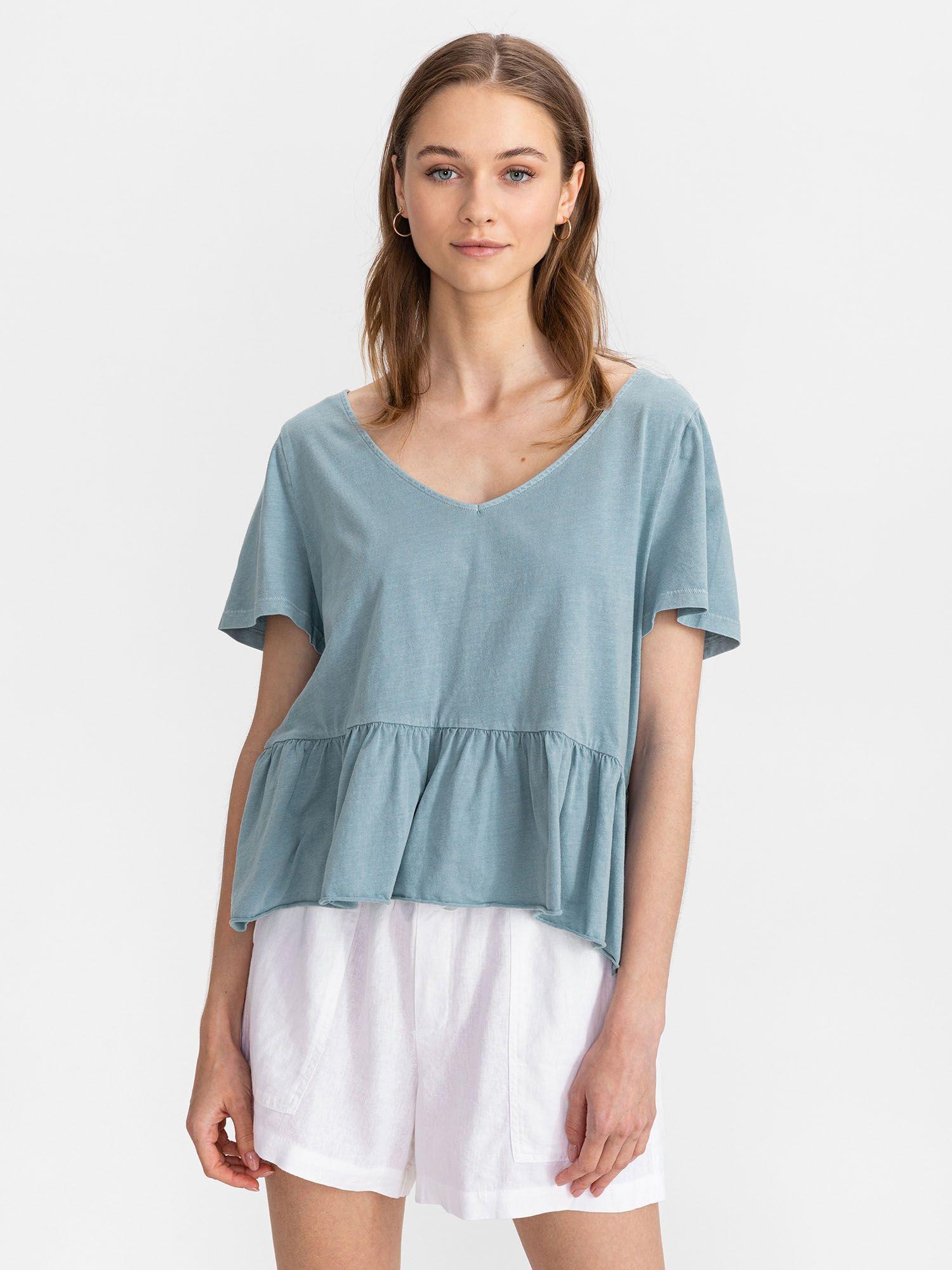 GAP modré tričko Vintage Peplum