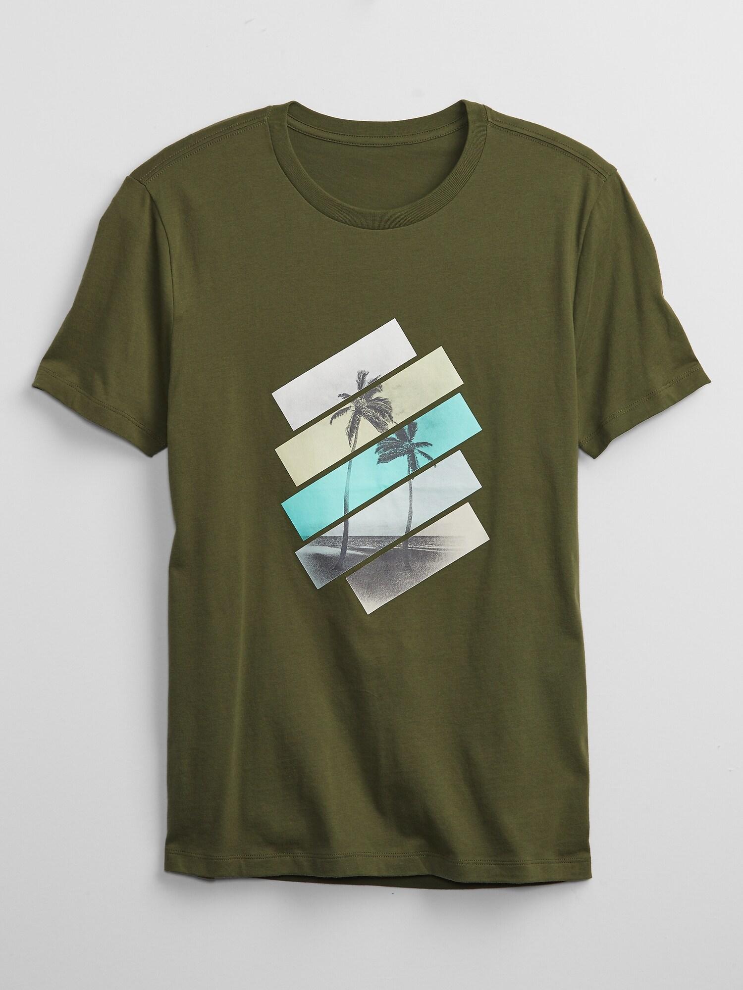 GAP zelené pánské tričko Palm Tree s potiskem