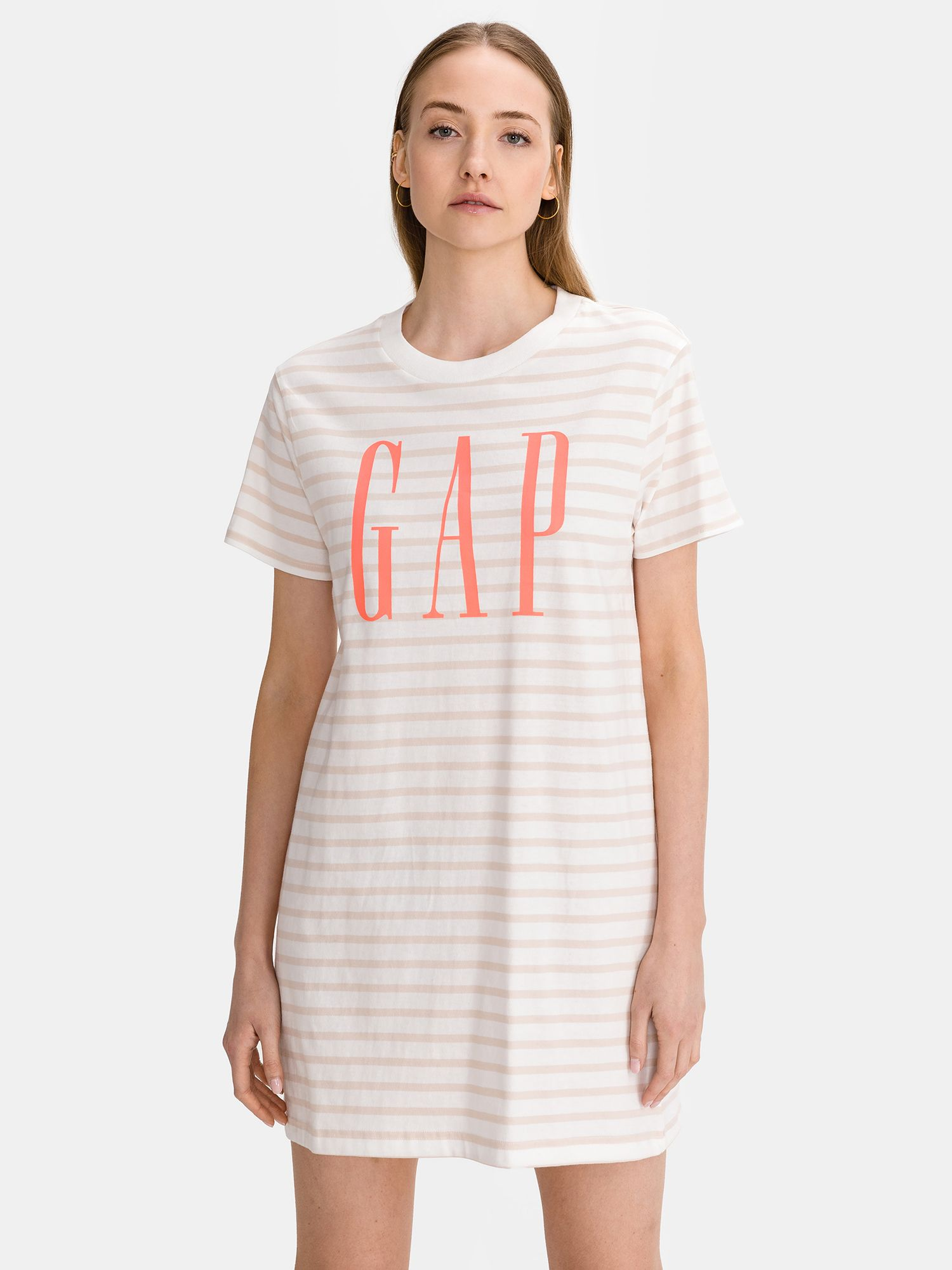GAP bílé pruhované šaty Logo T-shirt Dress - XXS